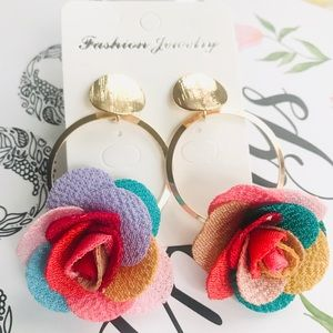 Rainbow Flower Earrings. NEW!